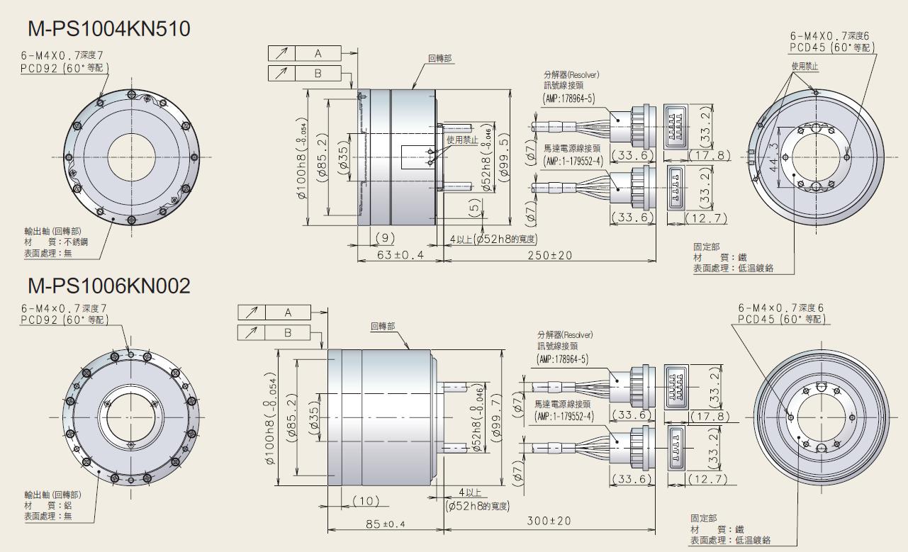 NSK 超大扭矩伺服馬達 PS系列 平面尺寸圖