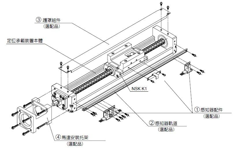 NSK 定位軸承滑台 MCM系列 本體組裝圖