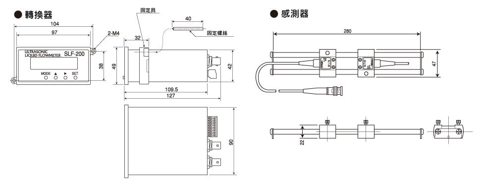 SONIC CORPORATION_ 超音波液體微流量計_ SLF-200系列 平面尺寸圖